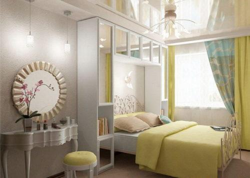 Хрущевки, ремонт спальни использование гипсокартоной конструкции