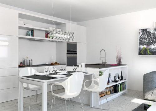 Дизайн белой кухни, совмещенной с гостиной