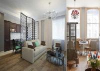 Дизайн квартиры хрущевки двухкомнатной, модель гостиная-кухня-столовая