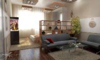 Планировка спальня-зал