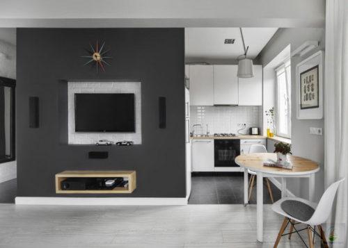 Пример совмещения кухни-гостиной