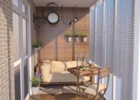 Современный дизайн проект балкона в стиле кантри