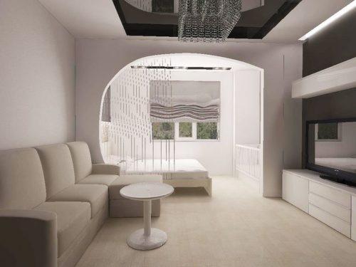 Дизайн гостиной, спальная зона ушла на балкон
