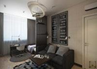 Светлые стены, темная мебель и аксессуары