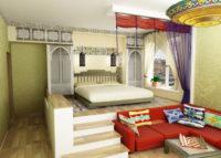Зал-спальня в хрущевке, интерьер с необычным исполнением