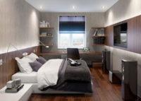 Пример оформление узкой спальни