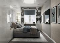 Простой лаконичный интерьер в спальной